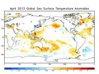 April 2013 Sea Surface Temperature (SST) Anomalies Map