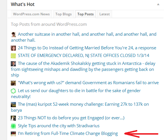 WordPress What's Hot 1-3-14