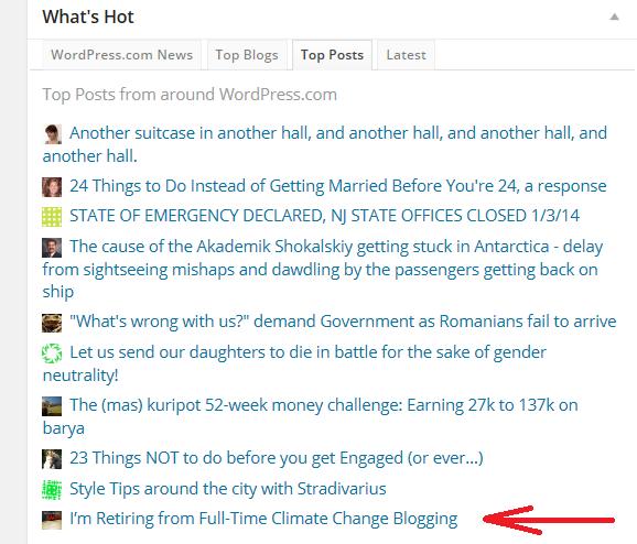 WordPress What's Hot 1-3-14