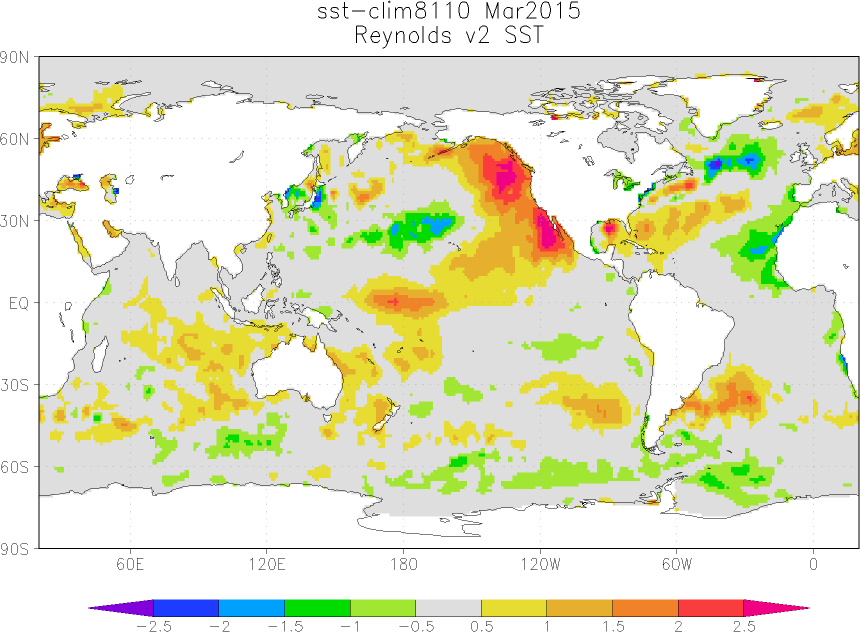 March 2015 sea surface temperature sst anomaly update bob march 2015 sea surface temperature sst anomalies map publicscrutiny Images
