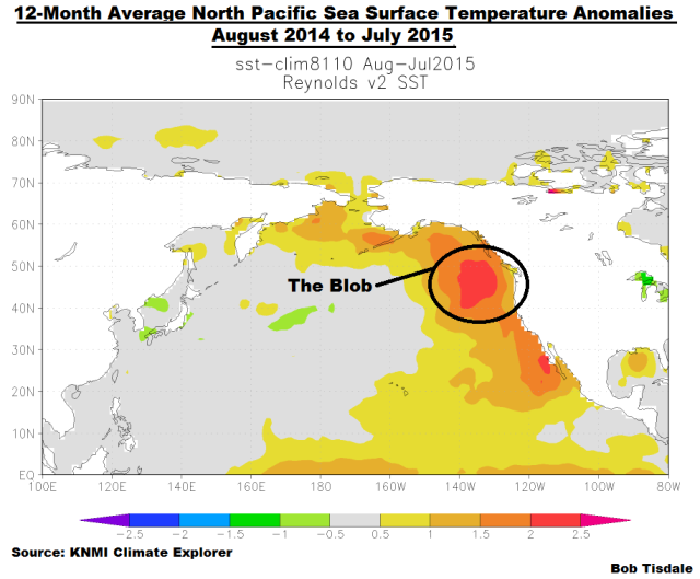 01 N. Pac SSTa Map Aug 2014 to Jul 2015